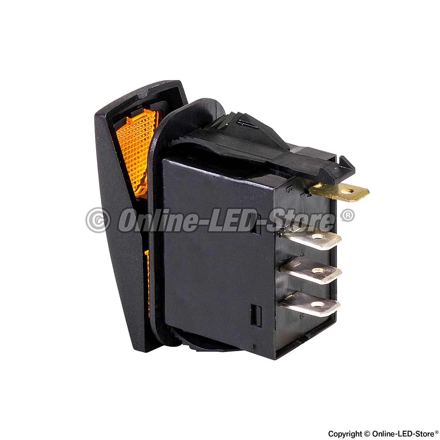 12v Dc 20a 4 Pin Led On Off Spdt Rocker Switch Relays Flashers Toggle Switches Illuminated Onoff Amber Automotive