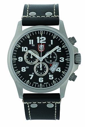 Luminox LU1888 - Reloj analógico de caballero de cuarzo con correa de piel negra - sumergible a 100 metros: Luminox: Amazon.es: Relojes