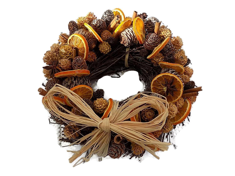 Christmas scented Fruit wreath Orange Slices,Cinnamon Sticks and cones 25cm Creative Crafts