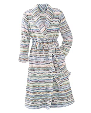 Carole Hochman Blanket Stripe Plush Robe, Pastel, Large