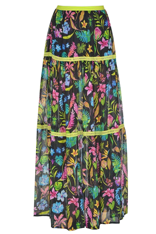 PinUp Stars Women's MCGLGNN000005015E Multicolor Cotton Skirt