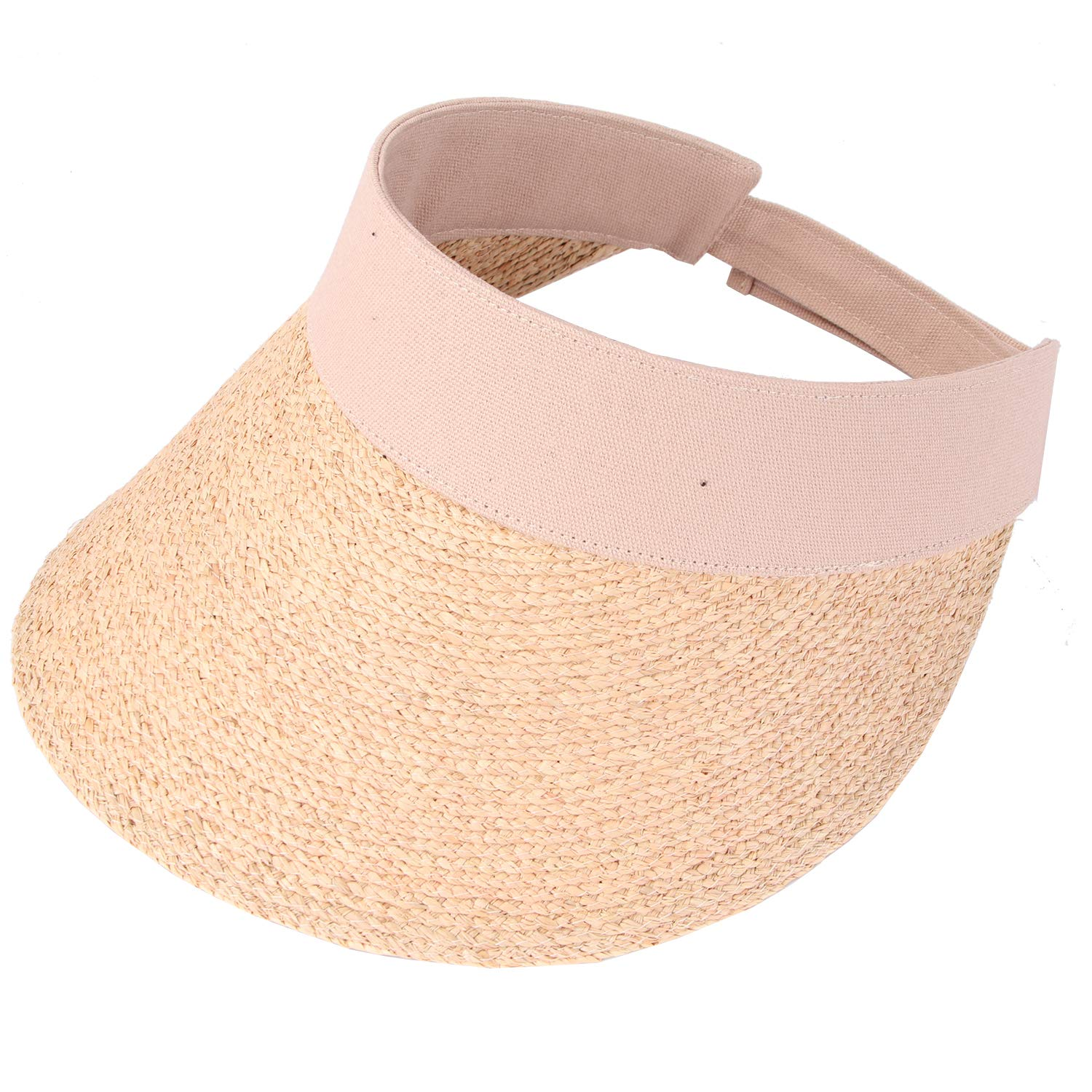 RIONA Women's Summer Straw Sun Visor Beach Straw Sun Hats Wide Brim UPF 50+ Beige