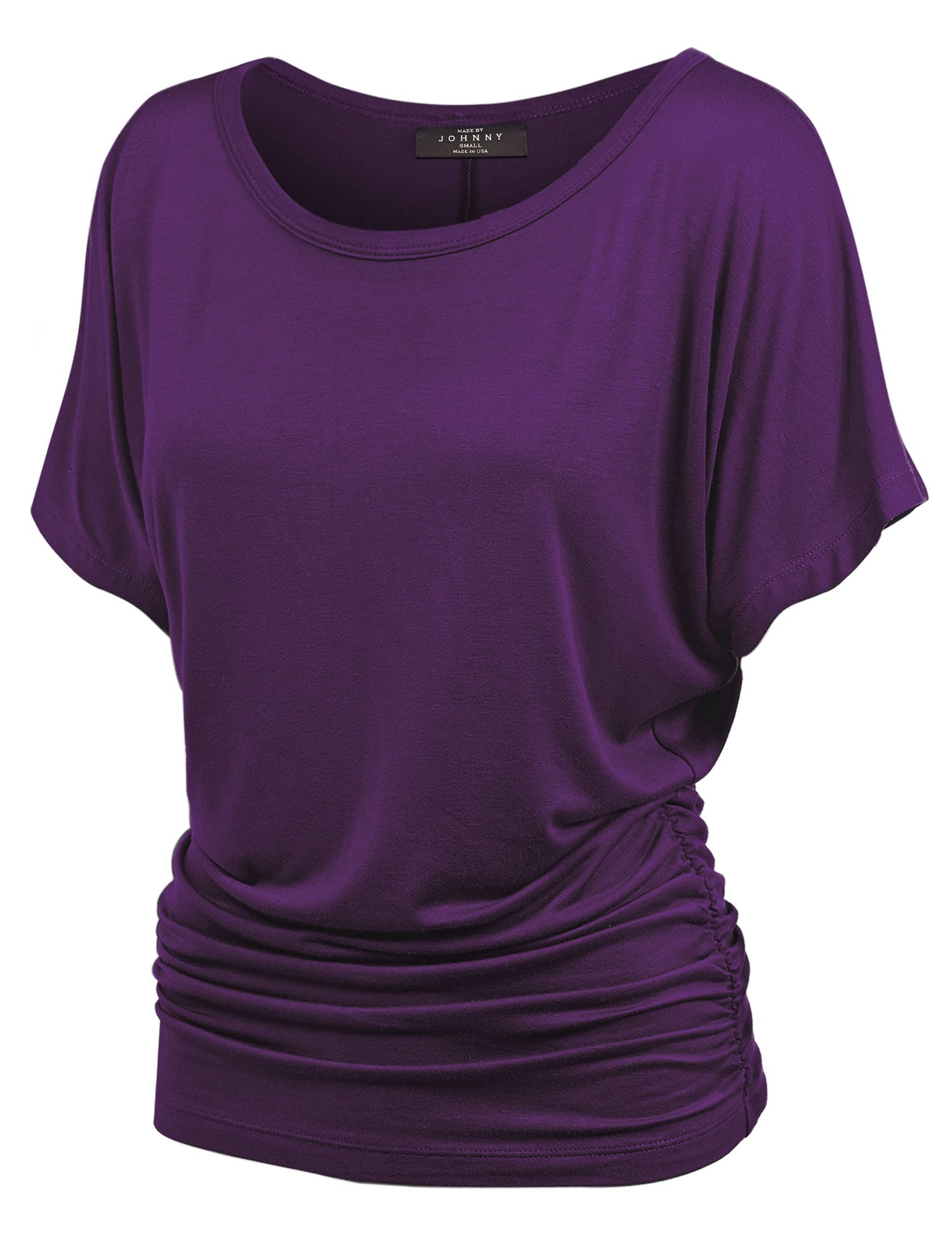 Made By Johnny WT817 Womens Dolman Drape Top with Side Shirring L Dark_Purple