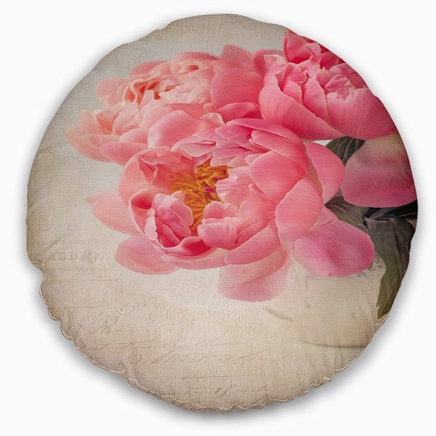 Sofa Throw Pillow 20 Insert Printed On Both Side Designart CU14183-20-20-C Bunch of Colorful Peony Flowers Floral Round Cushion Cover for Living Room