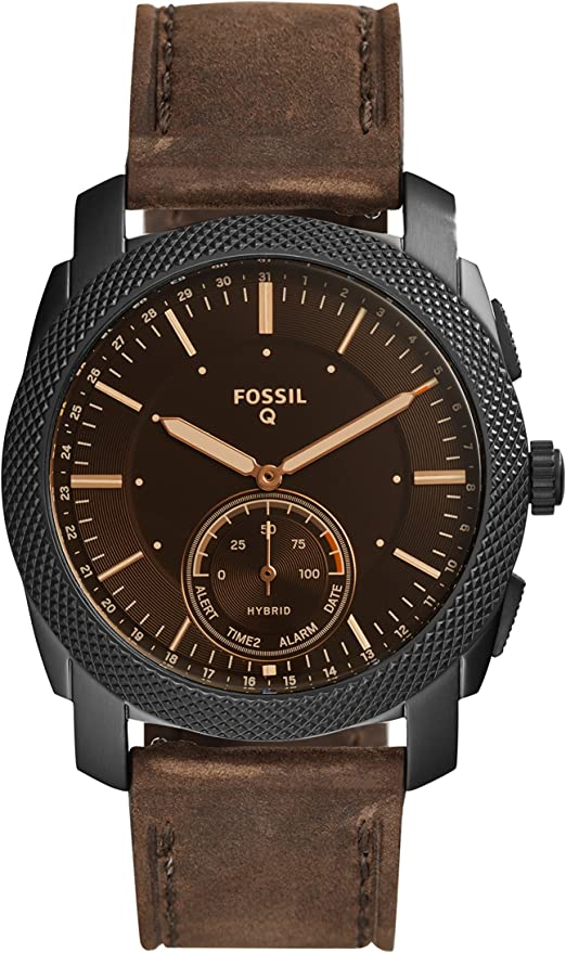 Amazon.com: Fossil Men's 45MM Machine Stainless Steel and Leather Hybrid  Smart Watch, Color: Black/Brown (Model: FTW1163): Watches