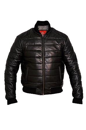 4e55881e4 Men's Down Bomber Leather Jacket at Amazon Men's Clothing store: