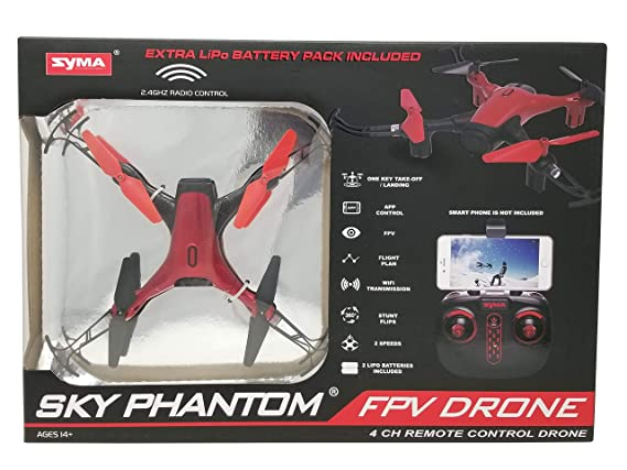 Syma Sky Phantom FPV Drone D1650WH 2 Speeds, App, 4 CH Remote ...