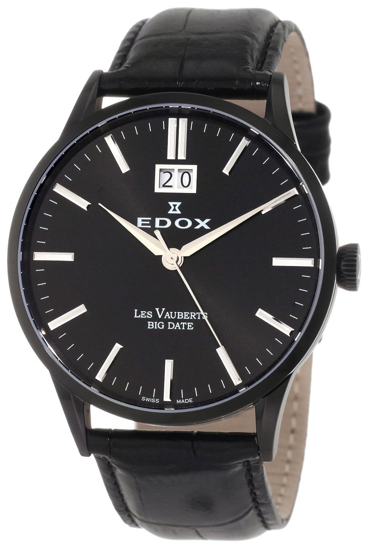 EDOX LES VAUBERTS HERREN-ARMBANDUHR 40MM ARMBAND LEDER BATTERIE 63001 37N NIN