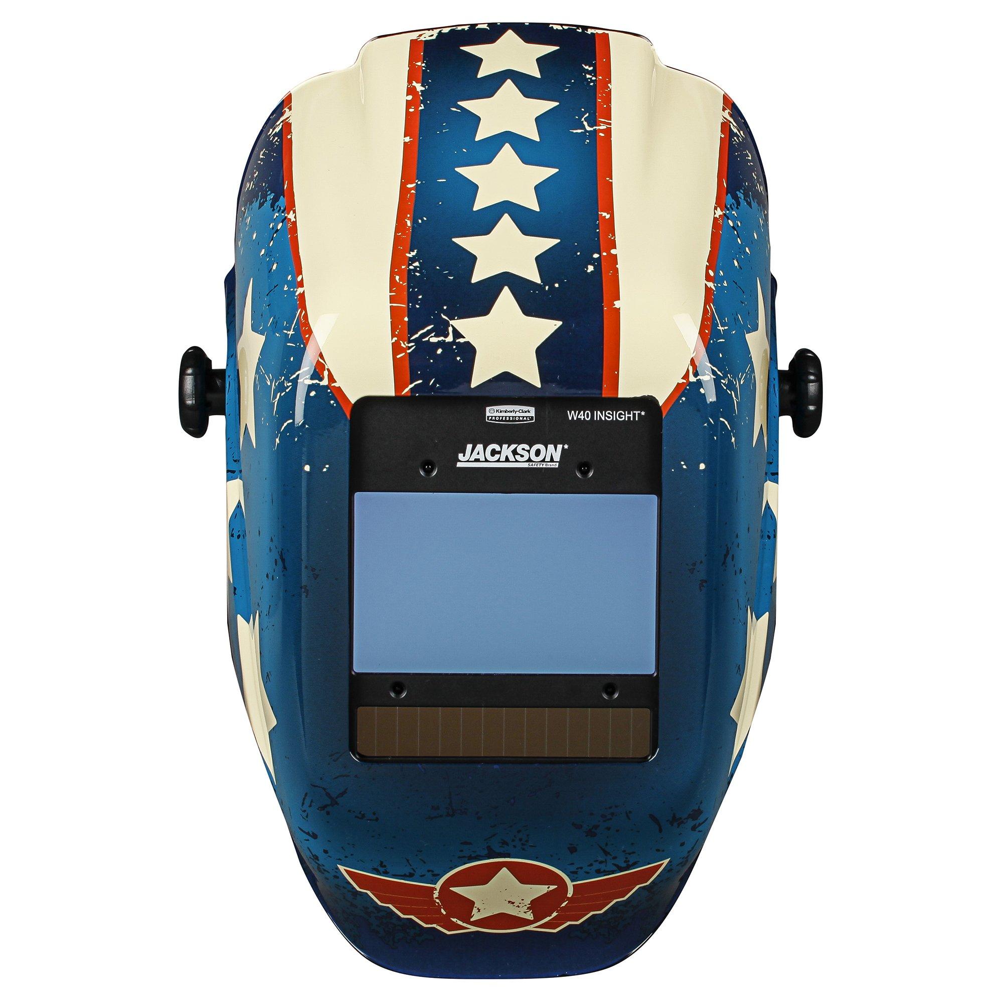 Jackson Safety Insight Variable Auto Darkening Welding Helmet (46101), HLX, 370 Comfortable Headgear, Ultra-Light Shell, Stars & Scars, 1 Helmet by Jackson Safety (Image #2)