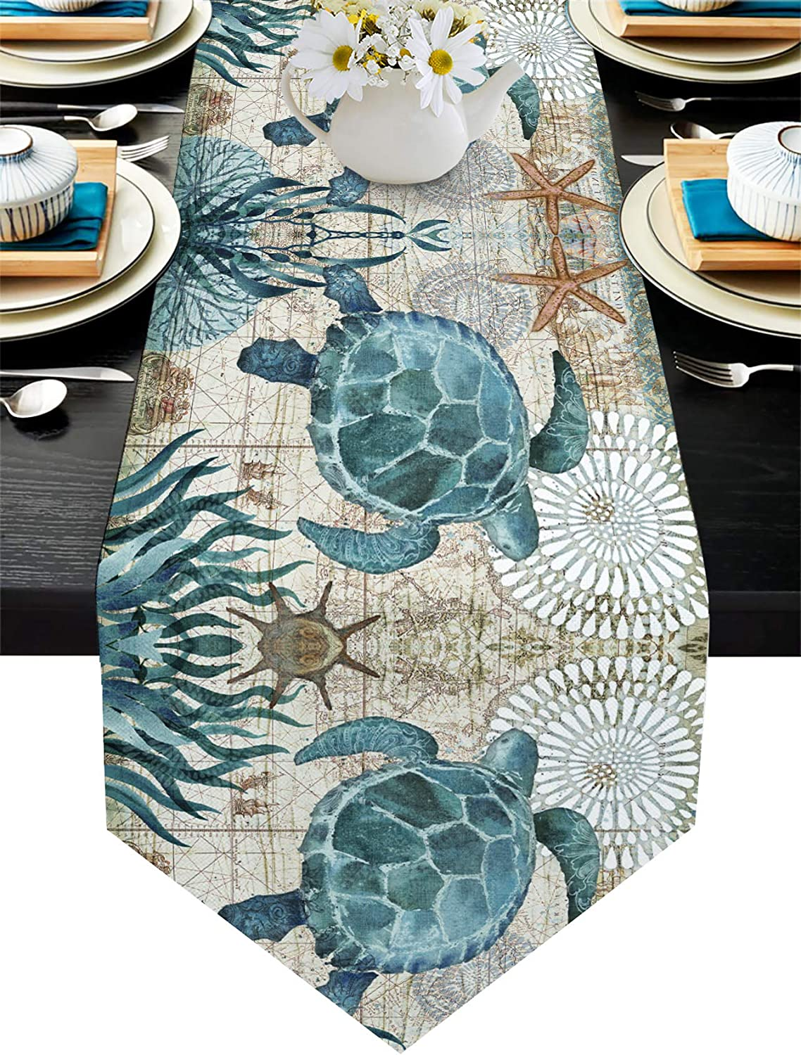 Cotton Linen Table Runner Dresser Scarves Sea Turtle Ocean Animal Nautical Themed Retro Non-Slip Table Settings Decor for Farmhouse Kitchen Home Dining ,Wedding,Holiday Indoor/Outdoor 14x72 inch,