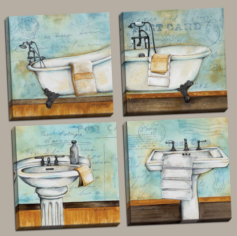 Amazon.com: Vintage Bathtub and Sink Bathroom Prints on a Postcard ...