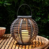 LED Solar Laterne Gartendeko Rattan Optik graublau 22,5cm Lights4fun