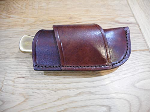 Brown Leather Knife Sheath – Holds a Buck 110 or LB7. Cross Draw. Horizontal Draw