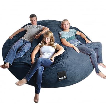 SLACKER sack 8 Feet Round Navy Blue XXXL Foam Bean Bag Couch Microfiber  Suede Giant Like LoveSac Beanbag Chair Biggest