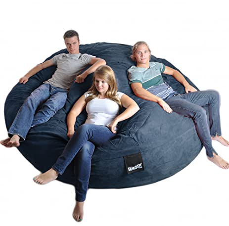 8 Feet Round Navy Blue XXXL Foam Bean Bag Couch Microfiber Suede Giant SLACKER Sack Like
