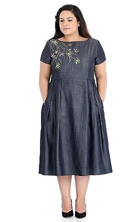 Afamado Embroidered Chambray Dress Plus Size Amazon Clothing
