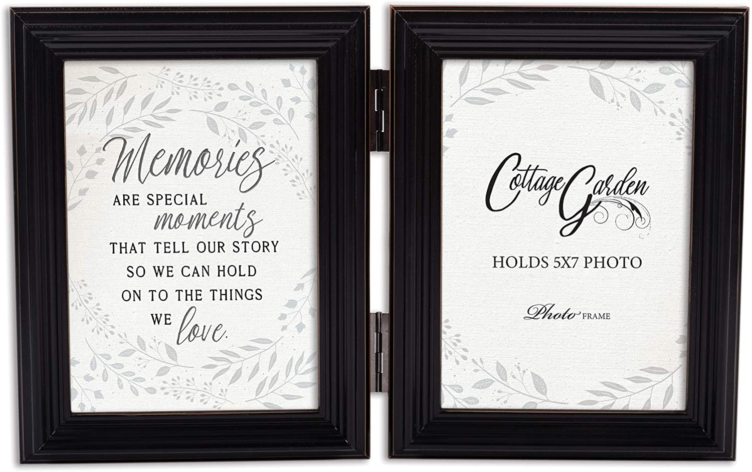 Cottage Garden Memories Moments Love Midnight Black 5 x 7 Wood Hinged Double Tabletop Photo Frame
