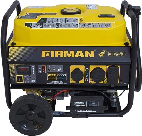 Firman P03608 4550 3650 Watt Remote Start Gas Portable Generator CARB Certified with Wheel Kit, Yellow