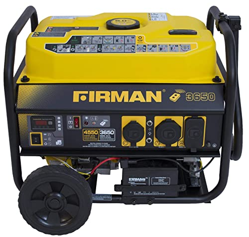 Firman P03608 4550 3650 Watt Remote Start Gas Portable Generator CARB Certified with Wheel Kit, Yellow