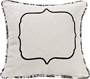 """HiEnd Accents Augusta French Toile Matelasse Reversible Throw Pillow, 18"""" x 18"""", Black & White"""