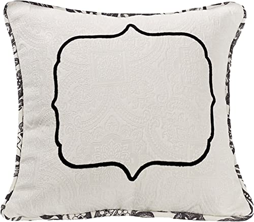 HiEnd Accents Augusta French Toile Matelasse Reversible Throw Pillow, 18 x 18 , Black White