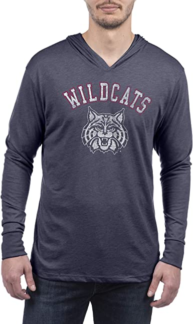 Top of the World Mens Modern Fit Premium Tri-Blend Short Sleeve Gray Heather Distressed Mascot Arch Tee