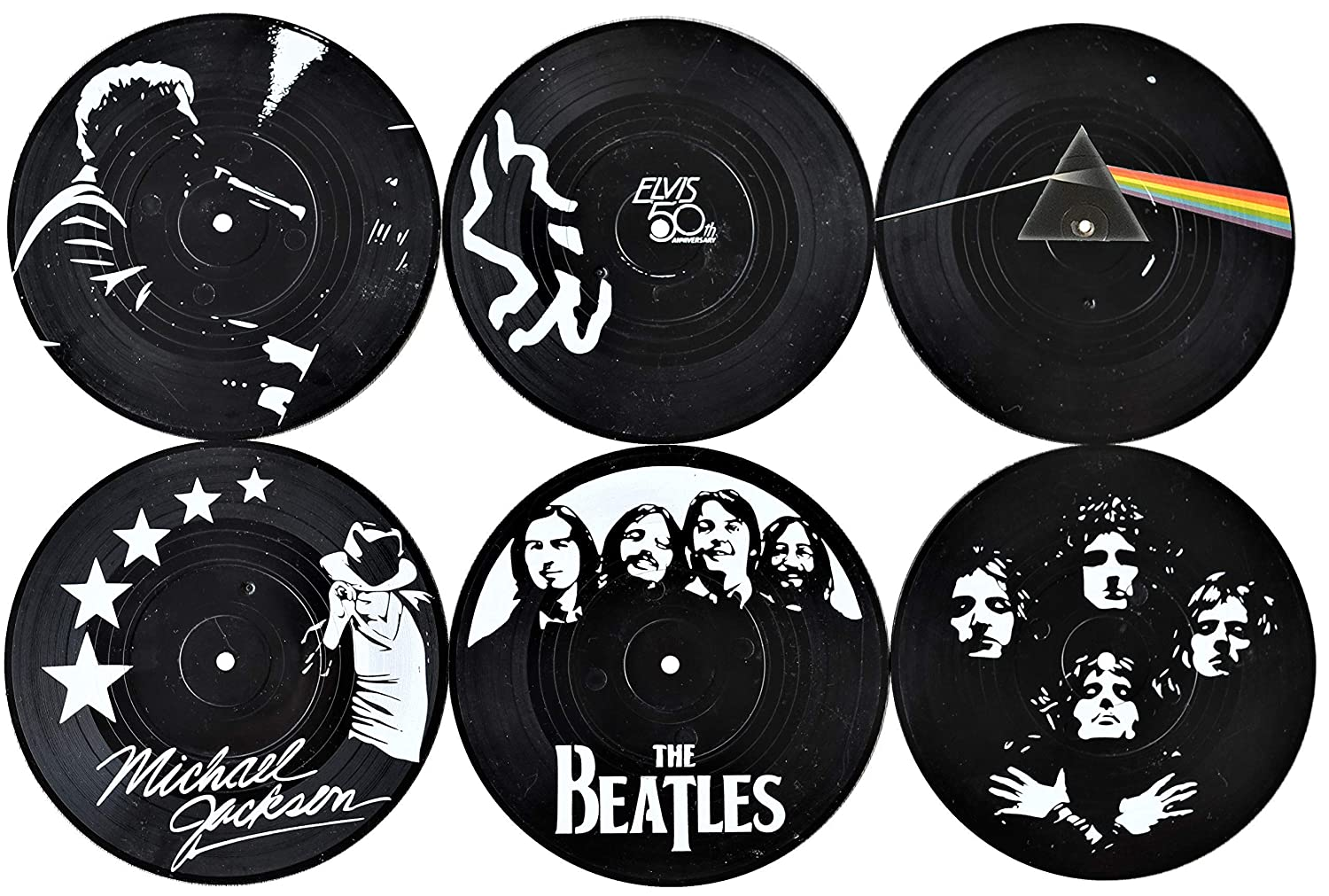 OurCasa Records Coasters Set For Drinks Retro Music Legends with Designed Vinyl Box | Gift For Home Bars | Non-Slip Prevent Tabletop Damage Easily Washable | 6 x Record Coaster | Black And White Decor