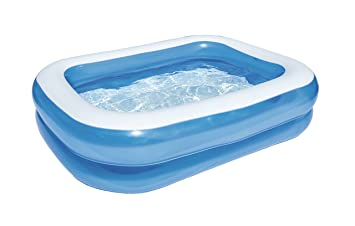 blue rectangular inflatable family pool