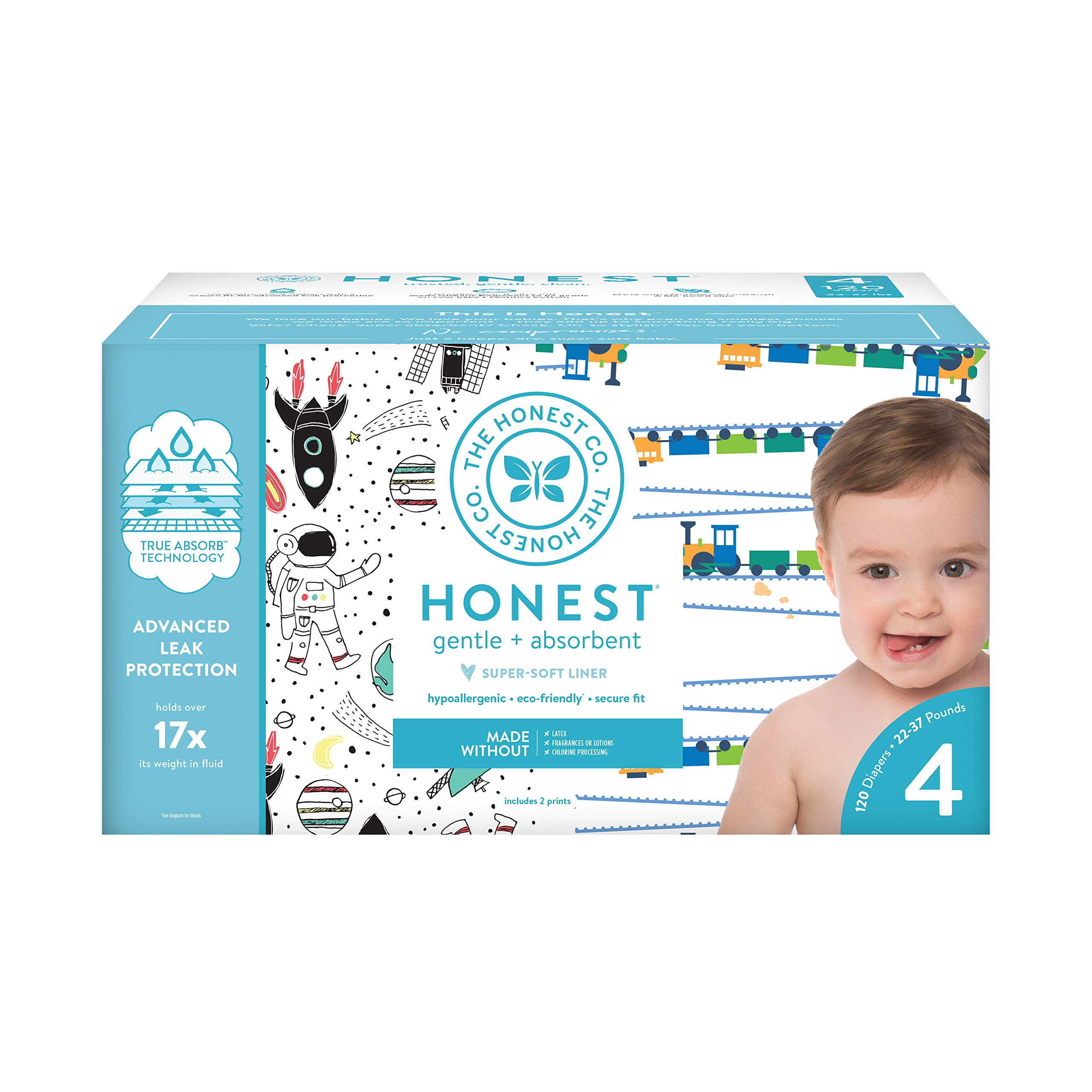 The Honest Company Super Club Box Diapers with TrueAbsorb Technology, Space Travel & Trains, Size 4, 120 Count