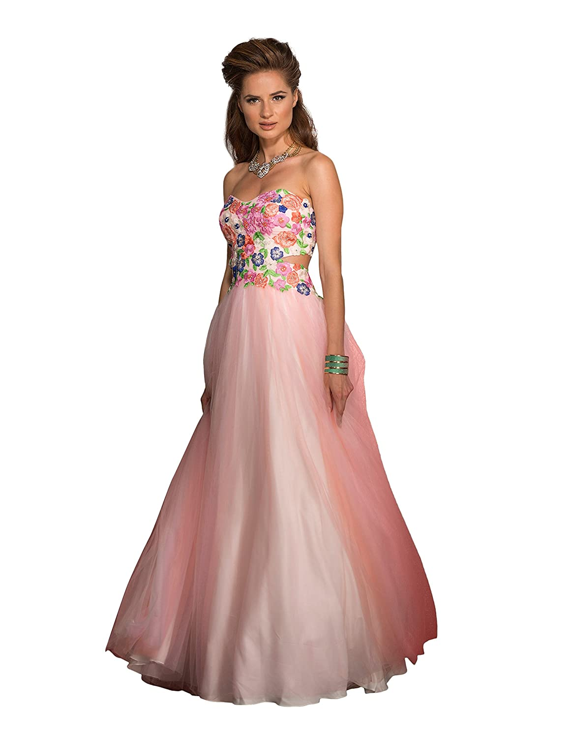 791b13c476 Amazon.com  Clarisse Women s Strapless Floral Ball Gown Prom Dress 2531 Size  0  Clothing