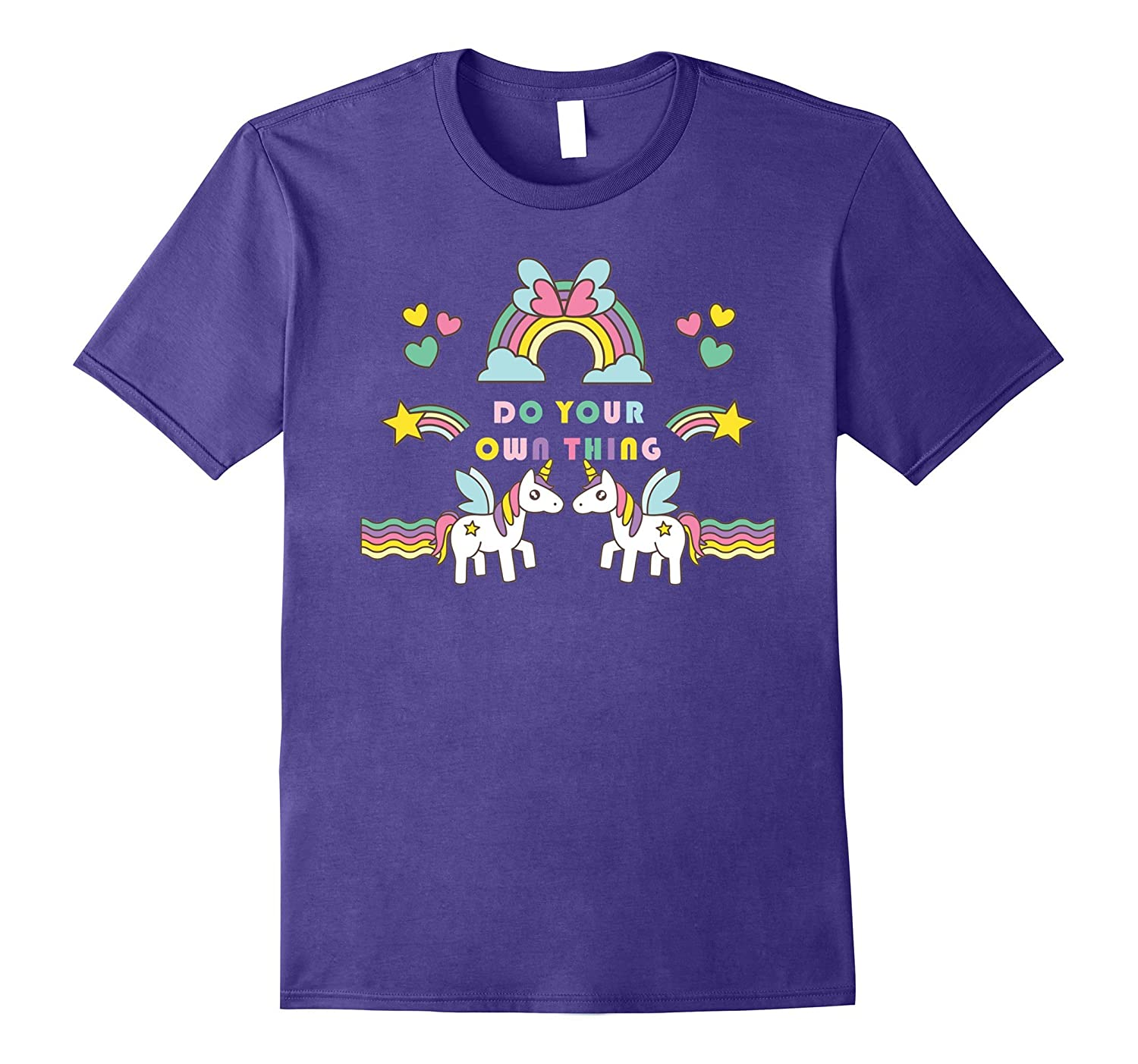 Do Your Own Thing Twin Unicorn Rainbow and butterfly T-Shirt-PL