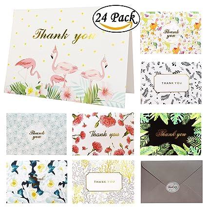 Juego de tarjetas de agradecimiento, 24 unidades, 8 diseños ...