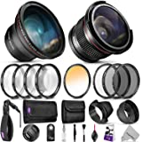Professional 58MM Lens & Filter Bundle for Canon – Complete DSLR/Mirrorless Camera Accessory Kit – Wide Angle & Fisheye Lens, Filters Kit (Macro Close-Up Set, UV, CPL, ND4, Color) Wrist Strap & More