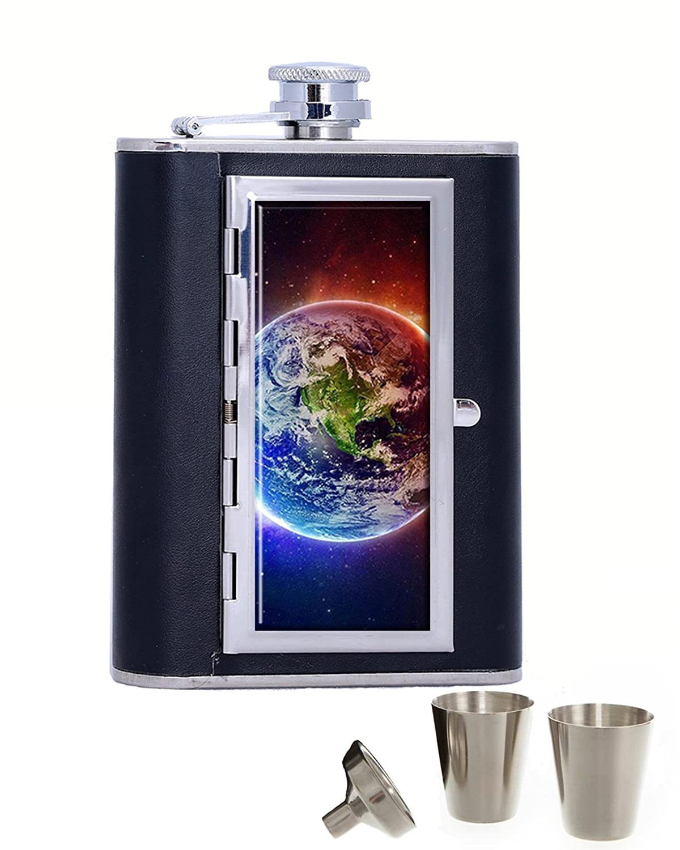 Galaxy Spaceポータブルステンレススチールandレザーアルコールヒップフラスコとコンパートメントシガレットケース、ブラック(6オンス)   B07FLHBM15