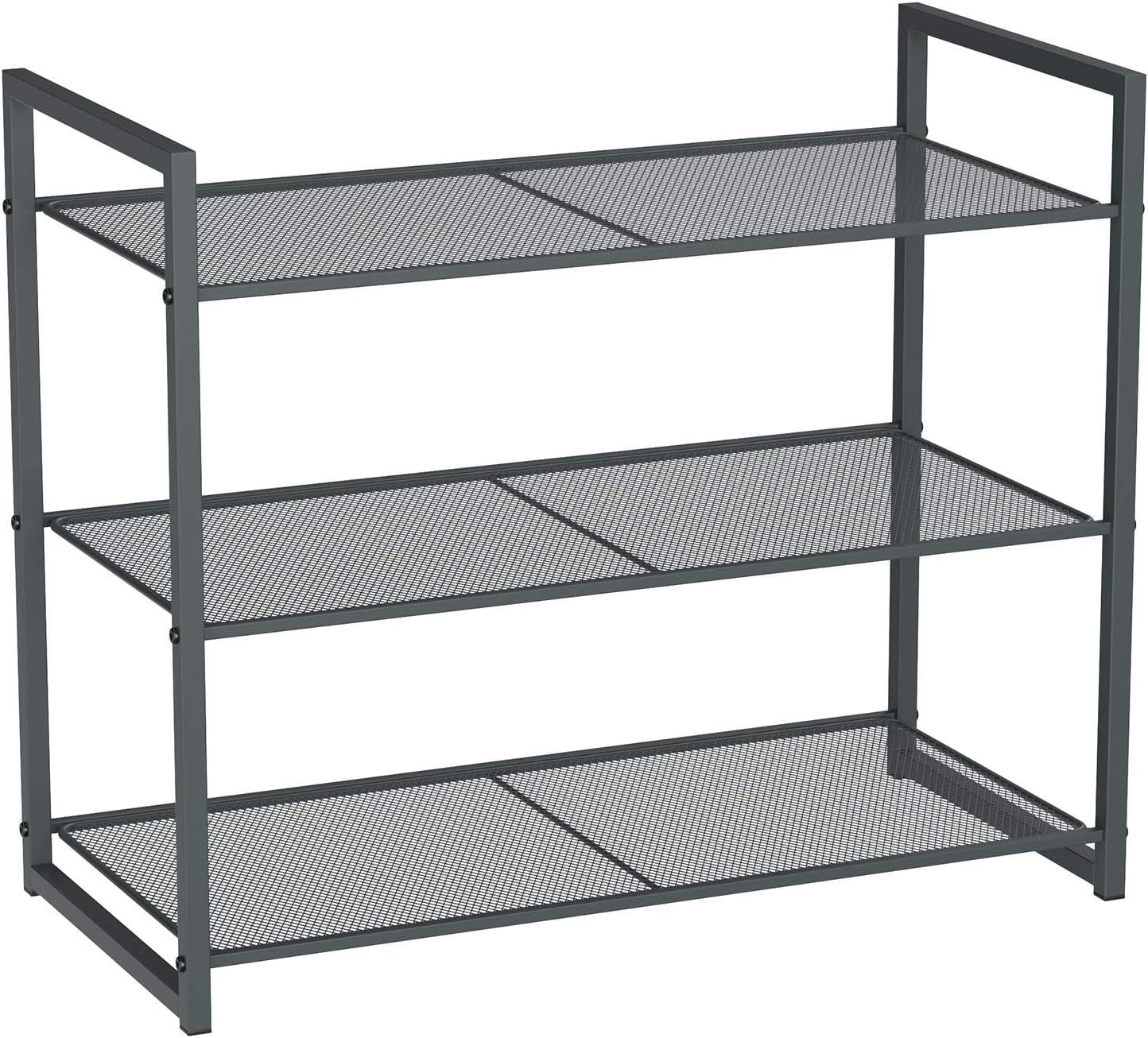 9-12 Pairs of Shoes 24.8 x 11.8 x 20.5 Inches SONGMICS 3-Tier Shoe Rack Metal Shoe Rack Storage Stackable Shoe Organizer Smoky Gray ULMR83GC