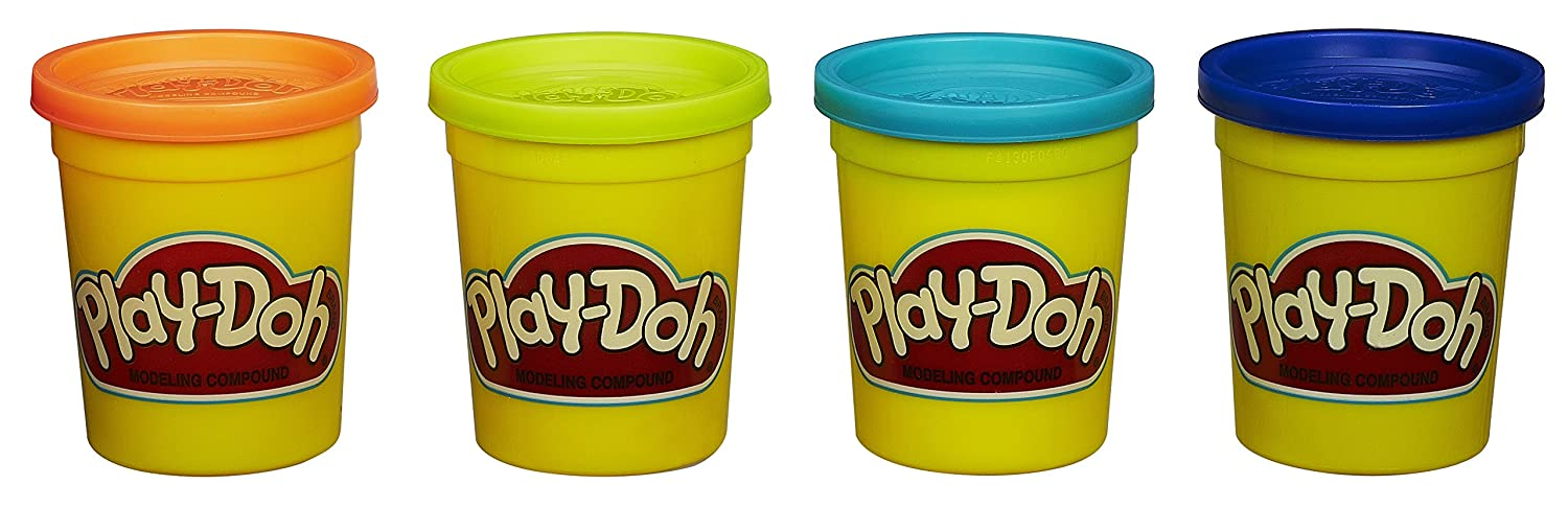Play Doh 4 Pack of Colors 20oz Blue Orange Teal Neon Yellow