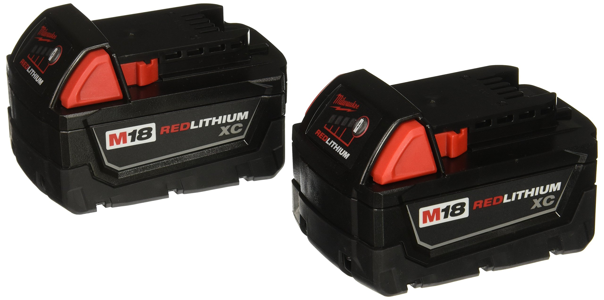 Milwaukee 48-11-1822 Dual M18 Genuine OEM 3 Amp Hour 18V Lithium Ion XC Extended Capacity Battery with Redlink Intelligence and Extreme Weather Performance (2 Pack of 48-11-1828) by Milwaukee