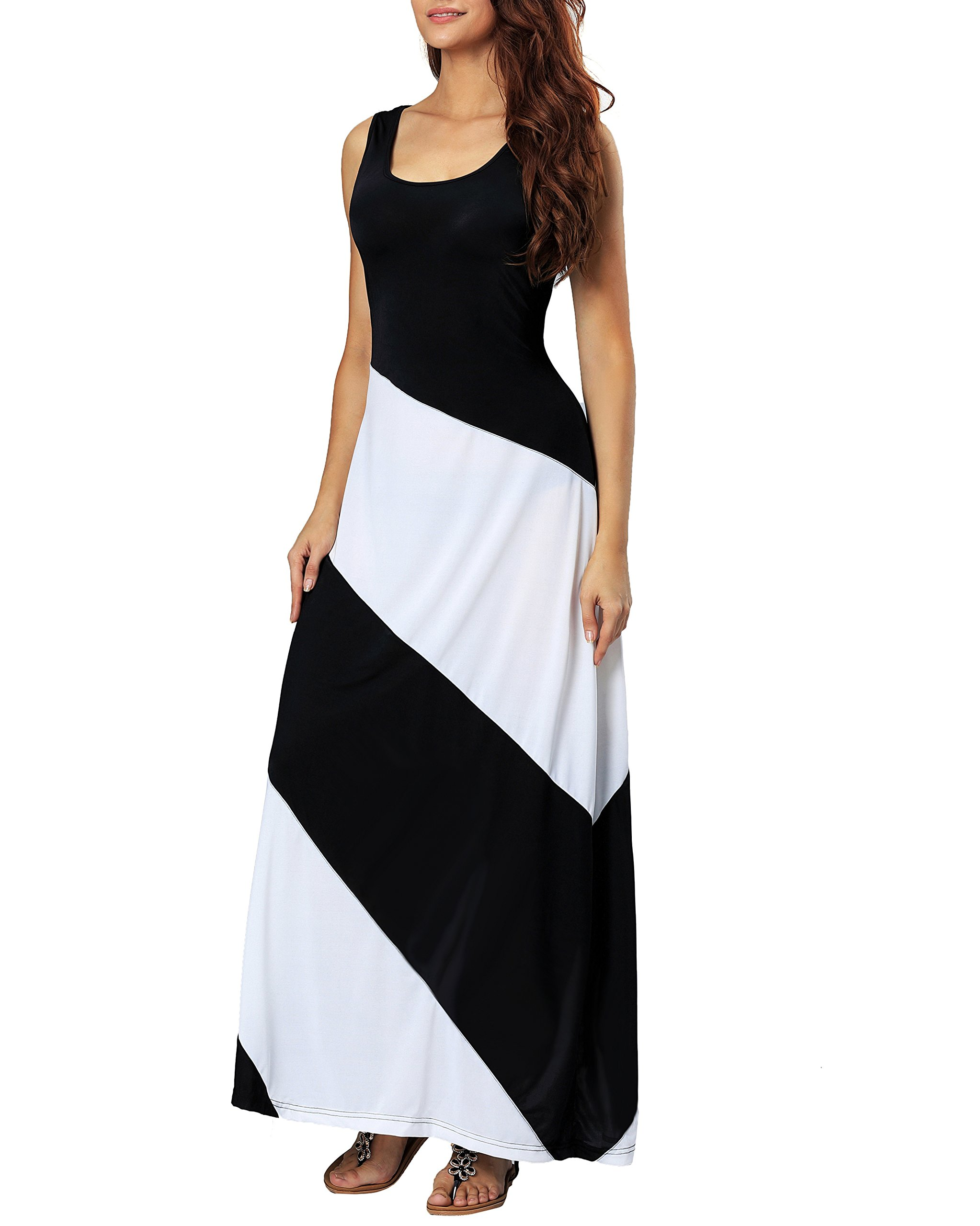 Aofur Summer Women Casual Striped Sleeveless Beach Maxi Dress Plus Size Evening Long Skirt (XXXX-Large, Black)