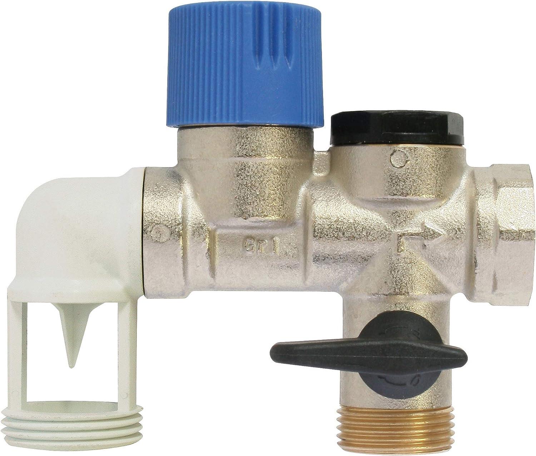 SOMATHERM FOR YOU - Latón Grupo de Seguridad NF 20/27 (3/4 '') para evitar el exceso de presión en el calentador de agua con un guardia de aire dobladas