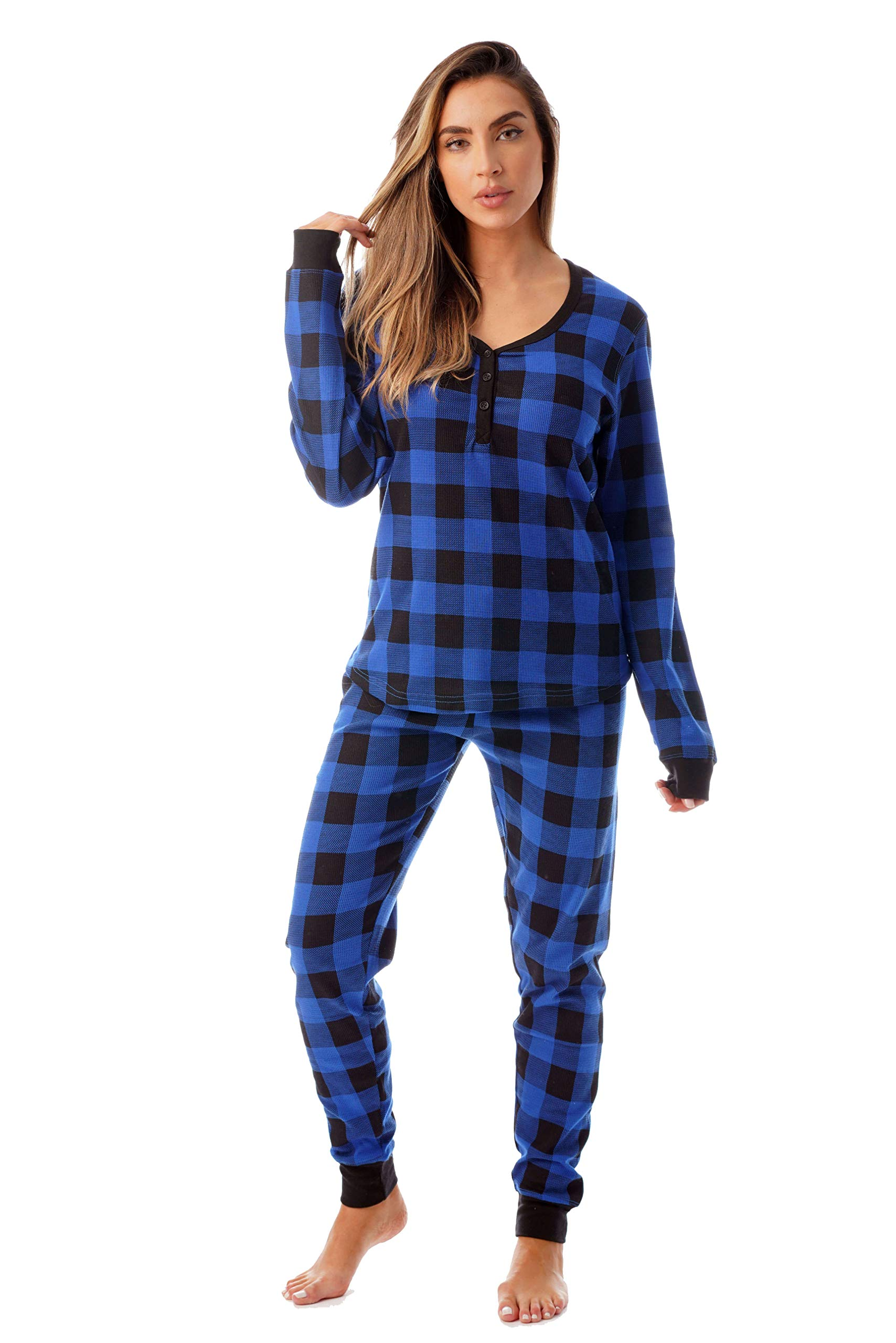 #followme Buffalo Plaid 2 Piece Base Layer Thermal Underwear Set for Women 6372-10195-NEW-ROY-XL by #followme