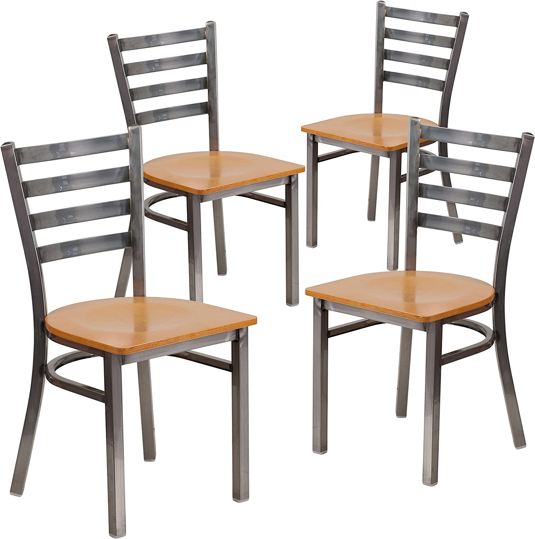 Flash Furniture 4 Pk. HERCULES Series Clear Coated Ladder Back Metal Restaurant Chair - Natural Wood Seat