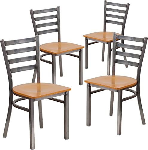 Flash Furniture 4 Pk. HERCULES Series Clear Coated Ladder Back Metal Restaurant Chair – Natural Wood Seat