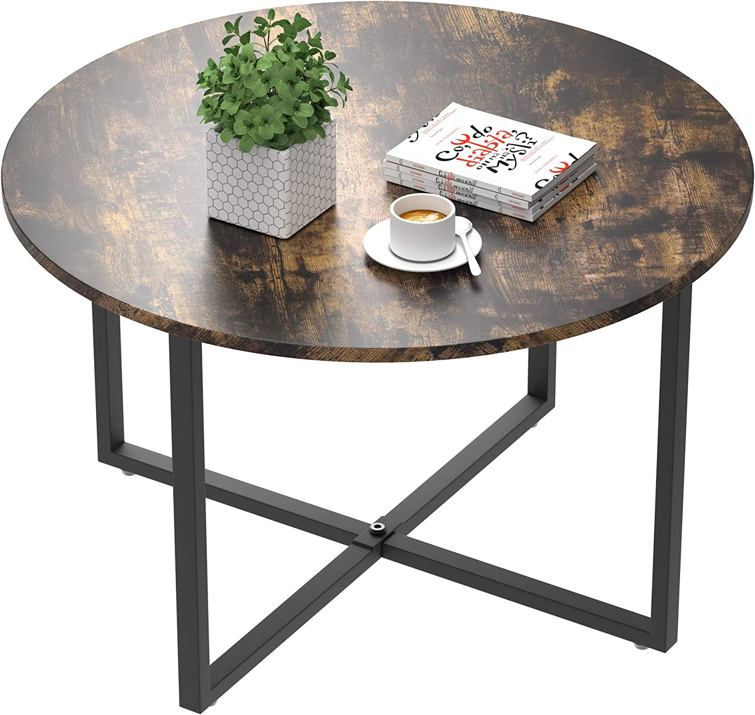 IDEALHOUSE Round Coffee Table, Vintage Design Furniture Sofa Table Cocktail Table for Living Room Bedroom Home Office Balcony (80cm, Retro Color)