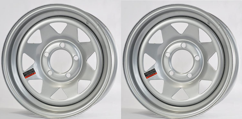 5 on 4.5 Silver Modular 2150 Lb 3.19CB Trailer Wheel Rim 15X5 J