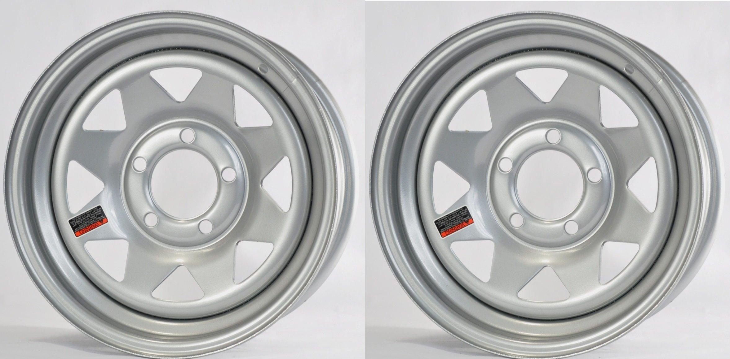 eCustomRim 2-Pack Trailer Wheel Silver Rims 14 x 5.5 Spoke Style (5 Lug On 4.5'' Center)