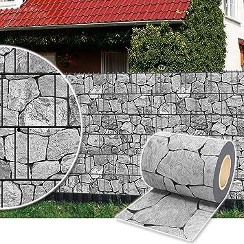 Plantiflex Sichtschutz Rolle 35m Blickdicht PVC Zaunfolie Windschutz Für  Doppelstabmatten Zaun (Stein Grau)