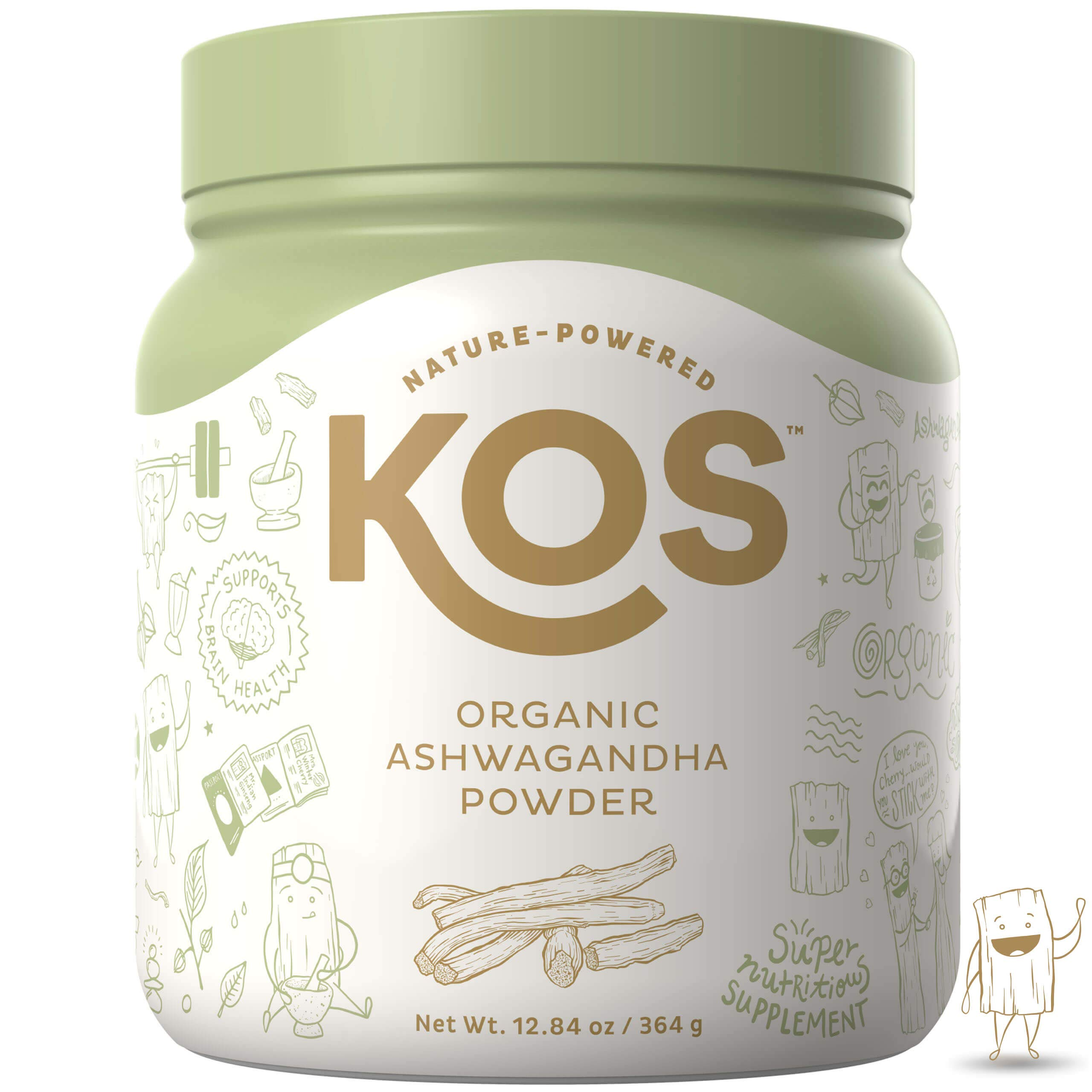 KOS Organic Ashwagandha Powder | Natural Anxiety Relief, Mood Enhancing Raw Ashwagandha Root Powder | USDA Organic, Mood Balancing, Immunity Enhancing Plant Based Ingredient, 364g, 104 Servings