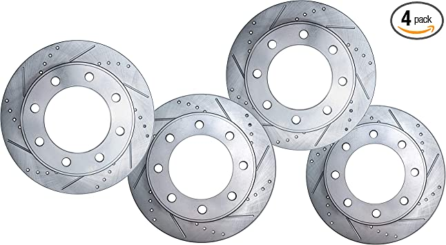 2006 2007 For Dodge Ram 1500 Coated Drilled Slotted Front Rotors and Pads 8 Lugs