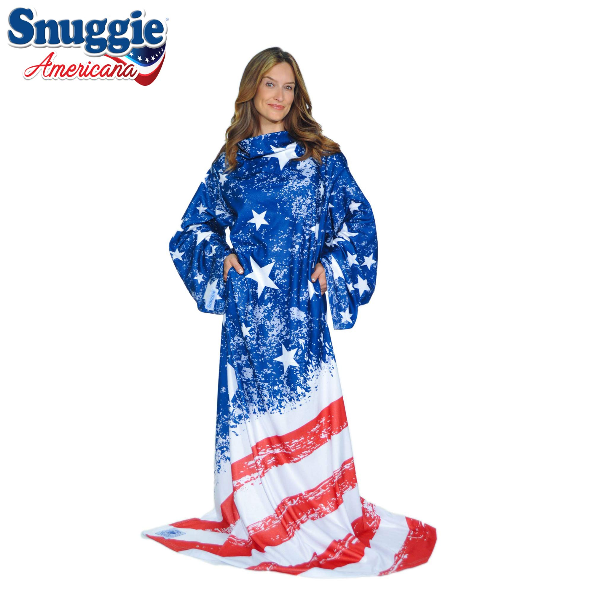 Snuggie Americana- The Original Blanket with Sleeves, Warm Fleece, Fits Most Adults 71''x 54'', Red, White & Blue America Flag- Bonus Warm Cozy Socks Included by Snuggie