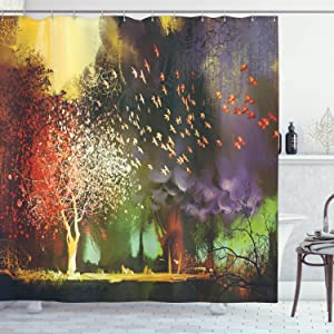 """Ambesonne Fantasy Shower Curtain, Fairy Forest with Mysterious Trees and Birds Supernatural Vivid Wonder World, Cloth Fabric Bathroom Decor Set with Hooks, 70"""" Long, Yellow Purple"""